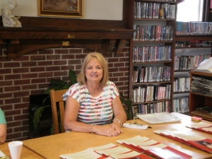 Janet Knedler, another children's book author and new friend. She signed her new book the Mount Ayr library with me.