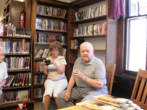 Jean and Jerry Barker from Mount Pleasant, Iowa, waiting patiently to purchase books.