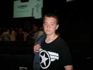 Cade, 14, after taking the plunge for Jesus, in obedience of baptism