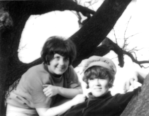 Bonnie and I posing in a tree in the park.