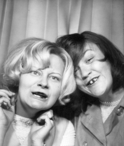 Bonny A (now C) with Bonnie using Black Jack gum in the photo booth