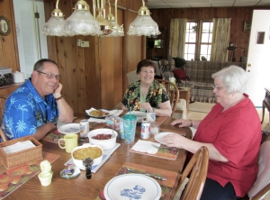 Jay, Bonnie's husband, took this photo of us sharing lunch and catching up on events in our lives.