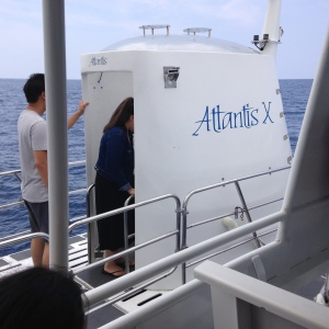 Entering the submarine, Atlantis.