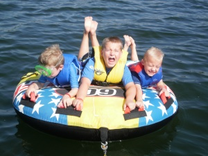 Three grandsons on vacation with me in the Ozarks